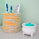 Twine And Rope Wrapped Toothbrush Holder
