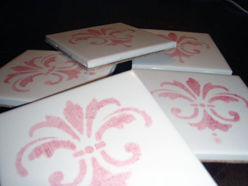 Stenciled Tile Coasters