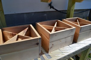 Preparing To Stain Wine Crates