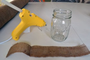 Glue Burlap Strip To Mason Jar