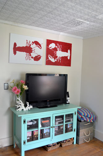 Lobster Art Above Tv Angie S Roost
