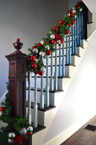 Garland With Ornaments On The Staircase