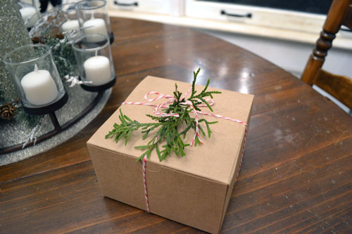 Kraft Paper Favor Box With Red Baker's Twine & Cedar Clippings