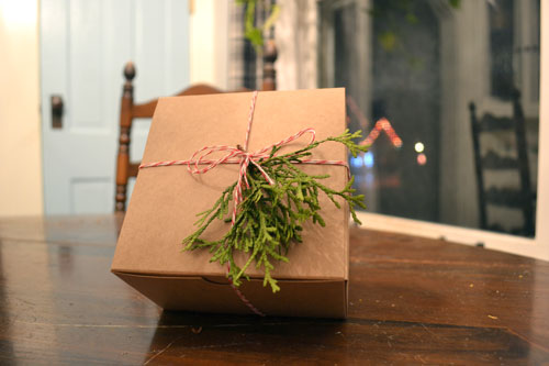 Christmas Treat Box Adorned With Cedar Clippings