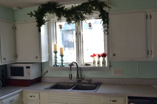 Garland Hanging Above Sink By Day