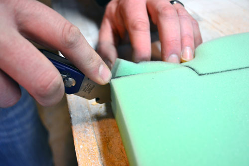 Cutting Foam Cushion With Utility Knife