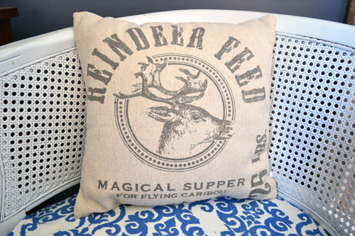 Grain Sack Reindeer Feed Pillow