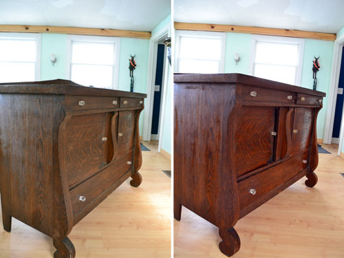 Before After Clean Furniture With Vinegar & Magic Erasers