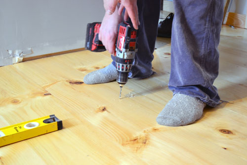 Drilling Pilot Holes In Flooring For Cut Nails