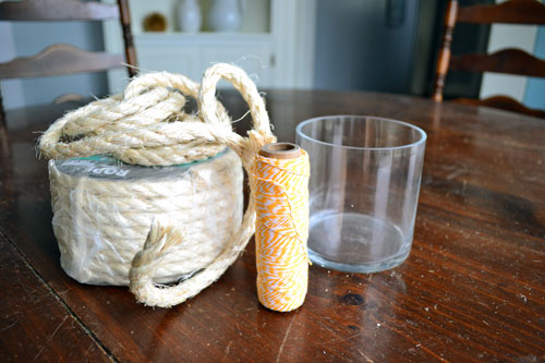 Craft Supplies For Making A Twine And Rope Toothbrush Holder