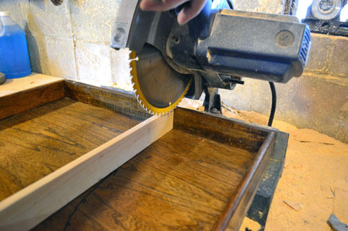 Cutting Out Excess Drawer With Miter Saw