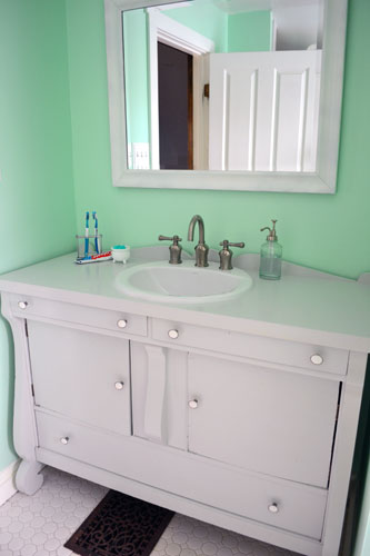 Finished Buffet Turned Bathroom Vanity