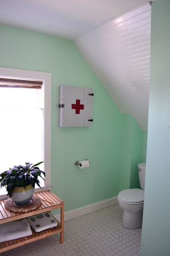 First Aid Wall Cabinet In Mint Green Bathroom