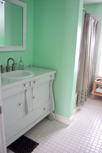 Gray Bathroom Vanity In A Mint Bathroom