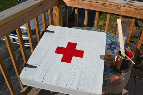 Paint Red Cross Onto Wall Cabinet To Make First Aid Cabinet