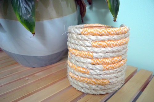 Rope And Bakers Twine Wrapped Glass Container