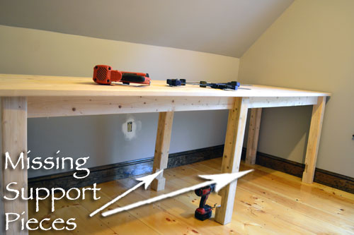 Assembled Desk Minus Leg Support Pieces