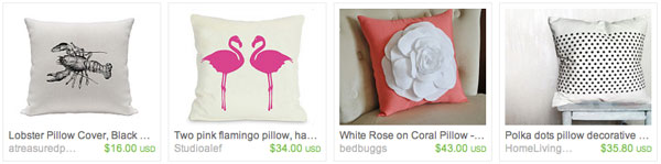 Etsy Faves Pillows
