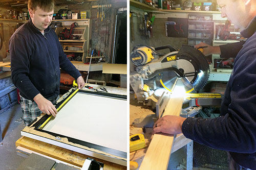 Measuring And Cutting New Mirror Frame