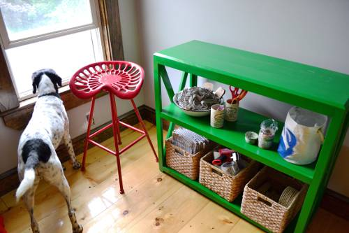 Not Digging The Red Stool Green Bookcase Combo