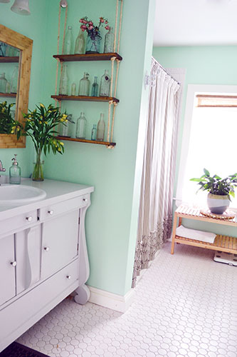 Wood Tiled Bathroom Mirror