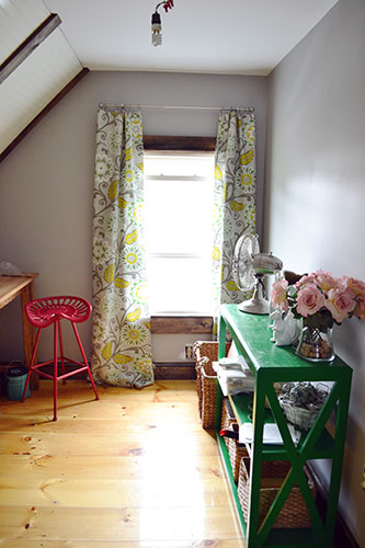 Etsy Office With Green Gray Yellow Curtains