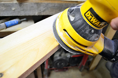 Scuffing And Sanding Faux Beam