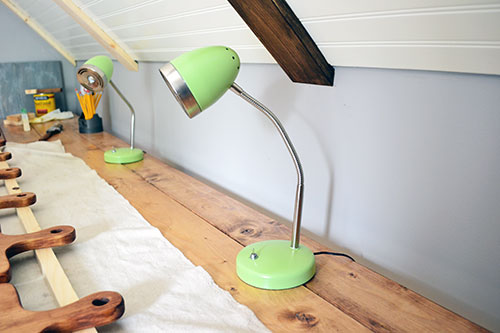 Spray Painted Lime Green Desk Lamps