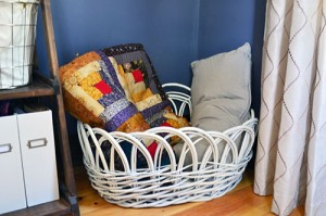 Spray Painted Basket For Holding Pillows And Blankets