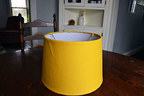 Yellow Fabric Covered Lamp Shade