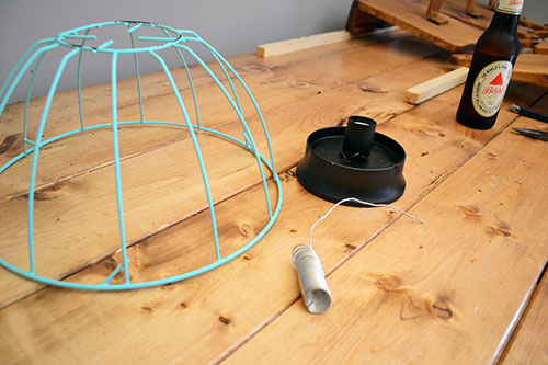 Spray Painted Basket To Assemble Into Light Fixture