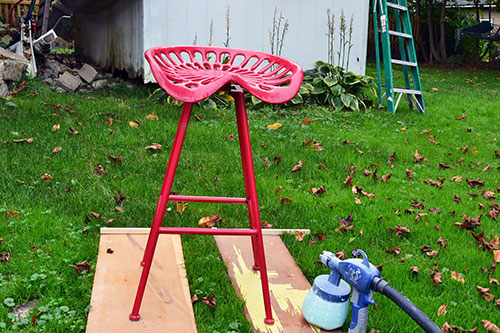 Red Tractor Seat Stool Prepped For Painting