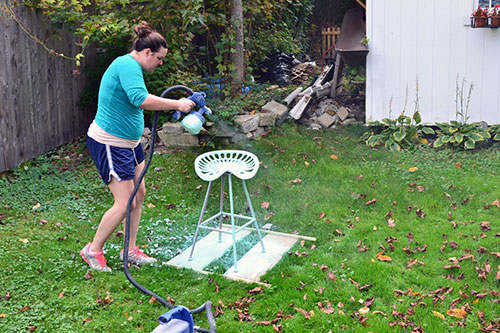 Spray Painting Tractor Seat Stool