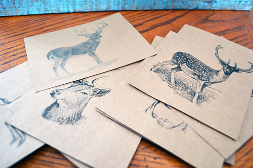DIY Deer Postcards On Kraft Paper