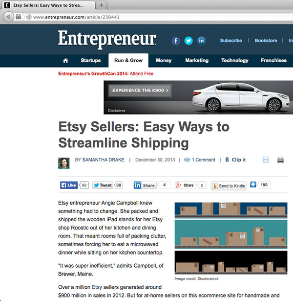 Roostic Business Featured On Entrepreneur Website 2013