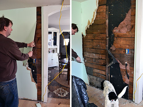 Sheet Rock Removal To Expose Old Wood Sheathing