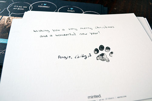 Signing Christmas Cards With Paw Print Stamp