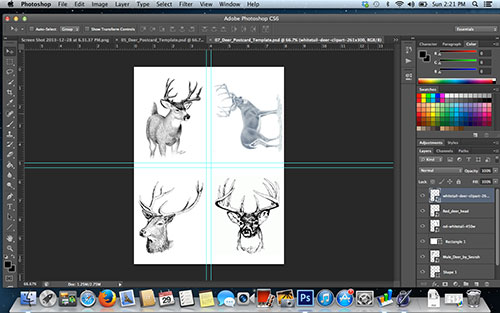 Using Photoshop To Arrange Deer Pics On One Sheet