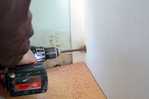 Drilling Hole Into Pantry Cabinet Side For Refrigerator Power Cord