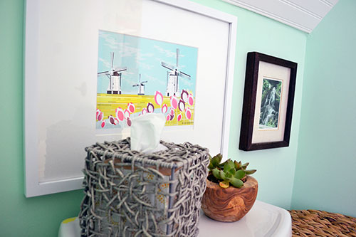 Windmill Print Hanging In The Bathroom