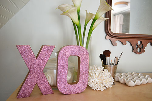 Pink Glitter XO Letters For Valentines Day