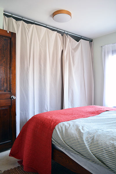 Master Bedroom Closet Before With Drop Cloth Curtains