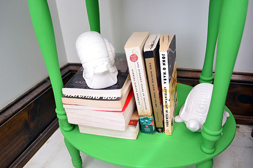 Nightstand Styling With Books And White Ceramics