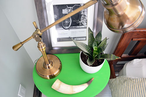 Nightstand Styling With Horns And Plants
