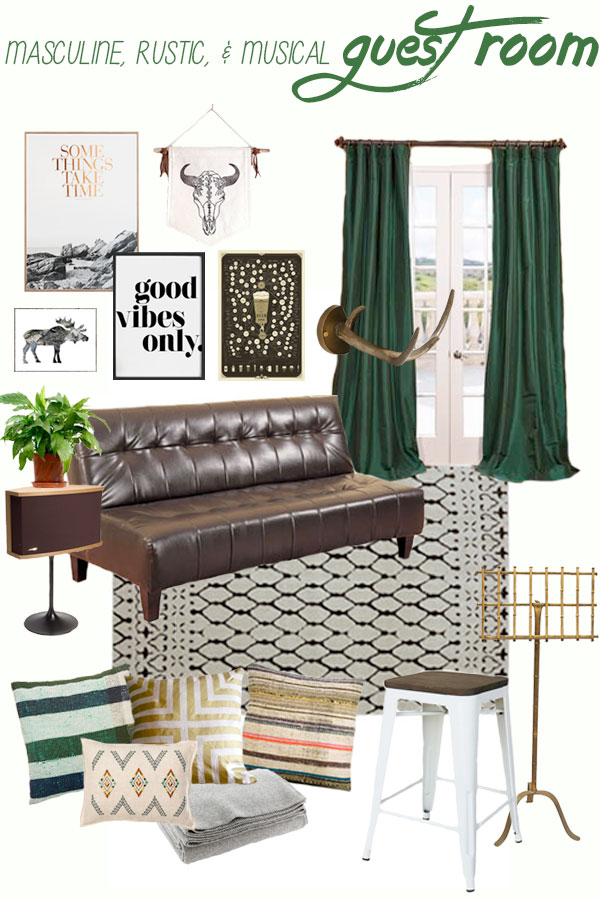 Rustic & Masculine Guest Room Mood Board